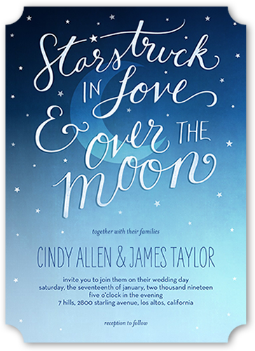 Moonlight Love Wedding Invitation, Ticket Corners