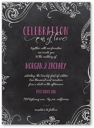 Chalk Celebration Wedding Invitation, Square Corners