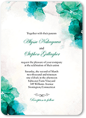 soft bougainvillea wedding invitation