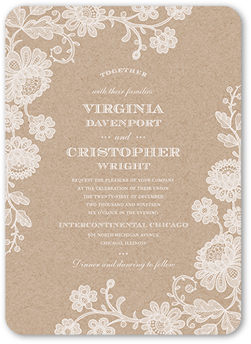Chalked Affair Wedding Invitation, Rounded Corners