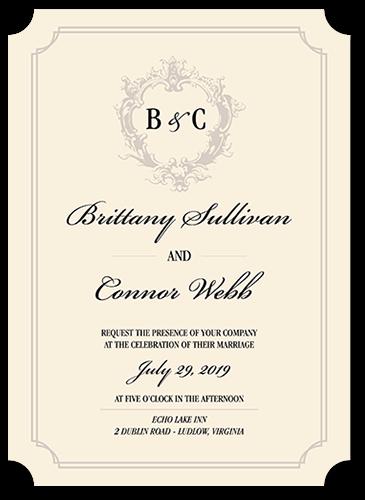 Classy Crest Wedding Invitation, Ticket Corners