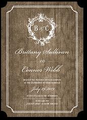 classy crest wedding invitation