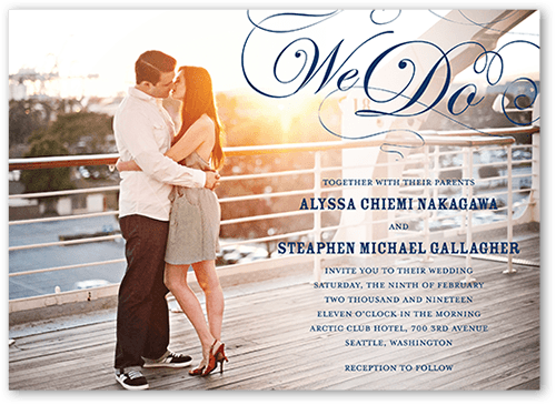 Stunning Flourish Wedding Invitation, Square Corners