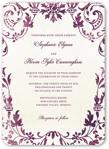 Washed Damask Wedding Invitation, Rounded Corners