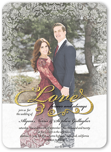 Fanciful Love Wedding Invitation, Rounded Corners