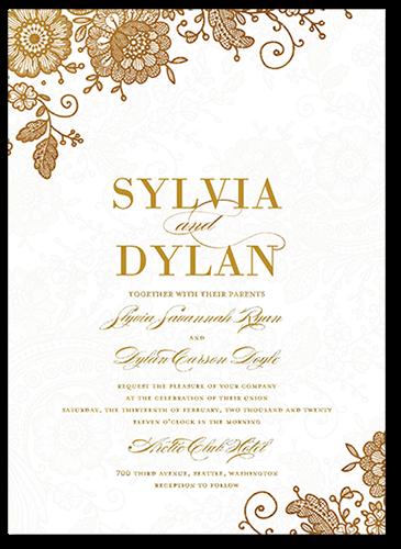Elegant Beauty Wedding Invitation, Square Corners
