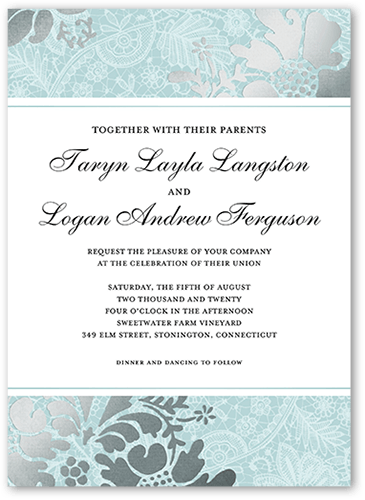 Elegant Brocade Wedding Invitation, Square Corners