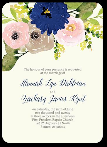 Bohemian Garden Wedding Invitation, Rounded Corners