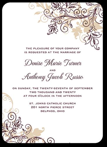 Flourish Golden 5x7 Wedding Invitations Shutterfly