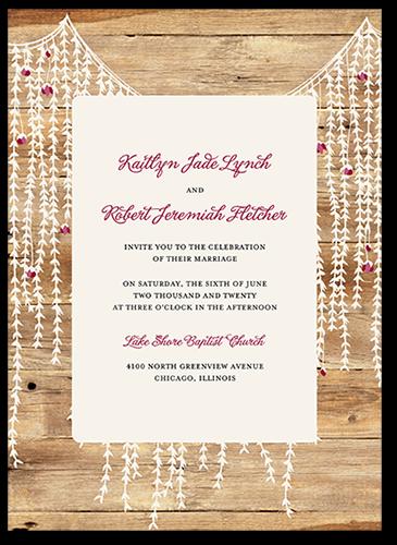 Rustic Floral Garland Wedding Invitation, Square Corners
