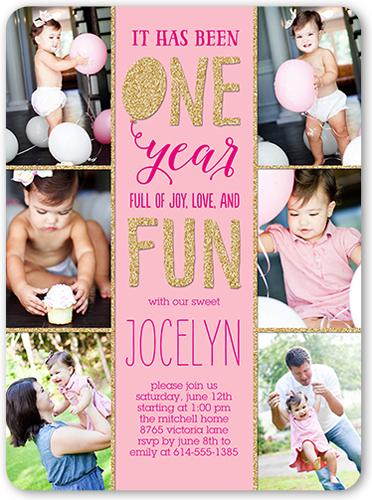 One And Fun Baby Girl 1st Birthday Invitation Shutterfly