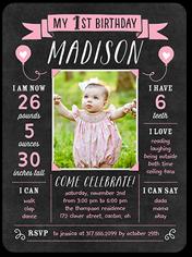 chalkboard banner girl birthday invitation 6x8 flat