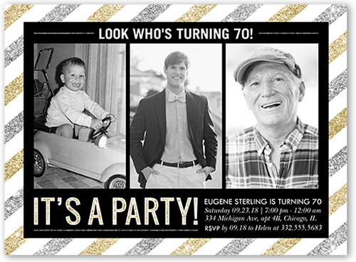Striped Party Birthday Invitation