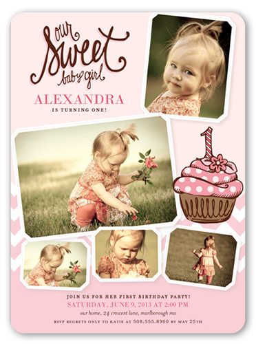 Sweet Little Cupcake Birthday Invitation, Rounded Corners
