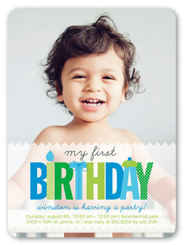 My First Baby Boy Birthday Invitation Shutterfly