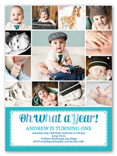 What A Year Boy Birthday Invitation 6x8 Flat