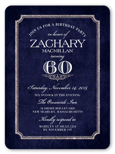 Shining Elegance Birthday Invitation, Rounded Corners