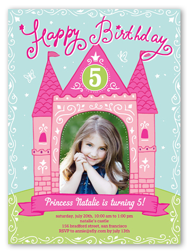 Princess Castle Birthday Invitation, Square Corners