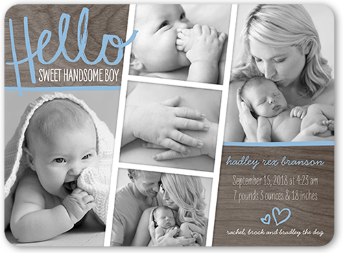 Hello Sweet Boy Birth Announcement, Rounded Corners