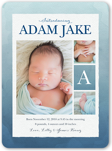 Gradient Watercolor Boy Birth Announcement