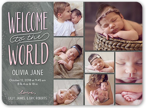 Welcome World Girl Birth Announcement