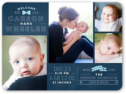 Modern Icon Boy Birth Announcement, Rounded Corners