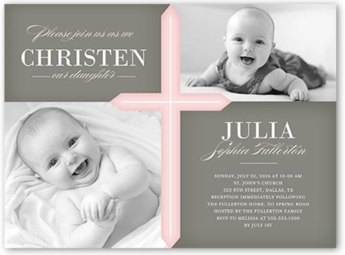 Glorious Cross Girl 6x8 Christening Invitations