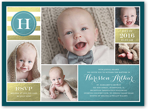 Stunning Monogram Boy Baptism Invitation by Stacy Claire Boyd
