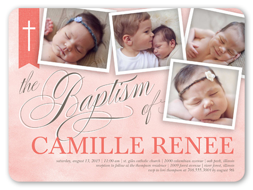 Cross Ribbon Girl 6x8 Invitation Baptism Invitations Shutterfly
