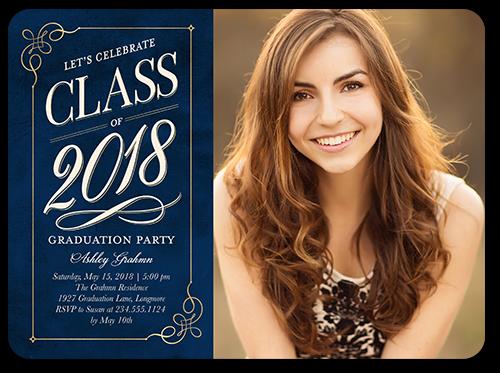 Sophisticated Swirls Grad Graduation Invitation, Rounded Corners