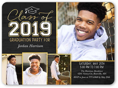Simple Cap Collage Graduation Invitation