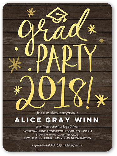 Whimsical Celebration Graduation Invitation, Rounded Corners