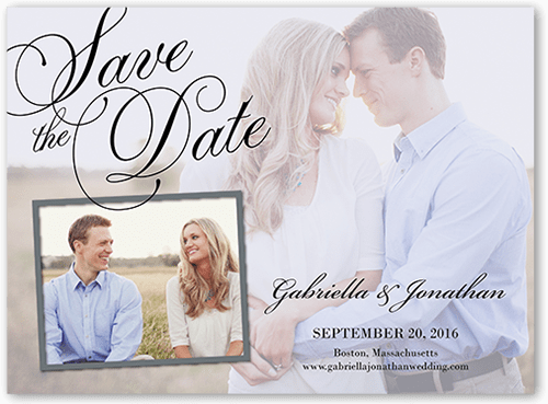 Romantic Overlay Save The Date, Square Corners