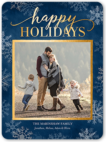 Falling Flurry Overlay Holiday Card, Rounded Corners