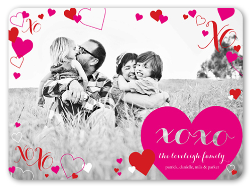 Hearts All Around Valentine's Card, Rounded Corners