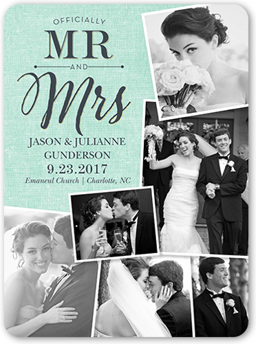 Tilted Frames Collage Wedding Announcement