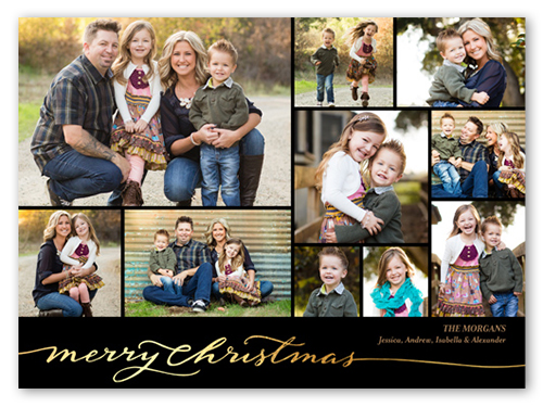 Golden Wishes Christmas Card, Square Corners