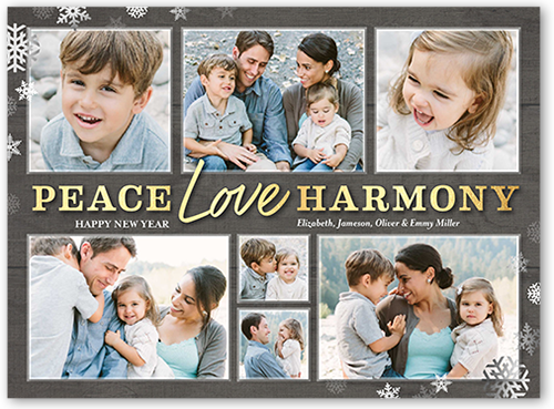 Peace Love And Harmony New Year's Card