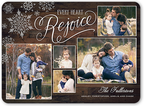 Every Heart Rejoice Religious Christmas Card, Rounded Corners