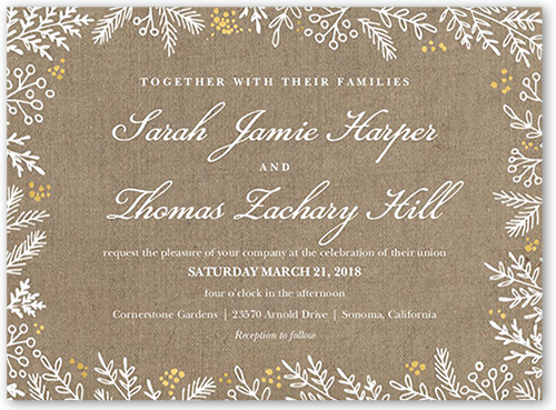 Burlap Flourishes Wedding Invitation, Square Corners