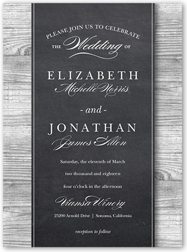 Chalk Wood Frame Wedding Invitation, Square Corners