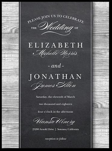 Chalk Wood Frame Wedding Invitation, Square Corners
