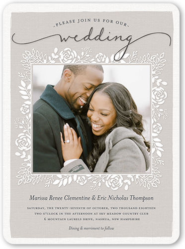 Mixed Foliage Frame Wedding Invitation, Rounded Corners