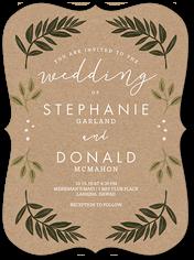 botanical kraft wedding invitation 6x8 flat