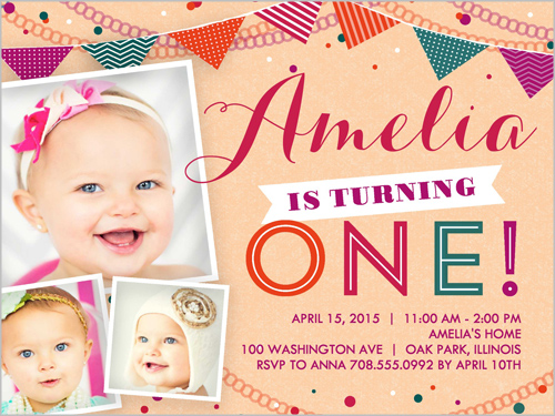Banner Day Girl Birthday Invitation