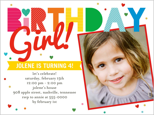 Birthday Stripes Girl Birthday Invitation, Square