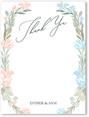 gentle floral frame thank you card