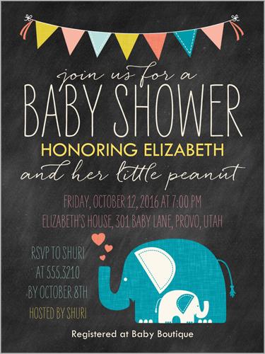 Elefun Delight Boy Baby Shower Invitation
