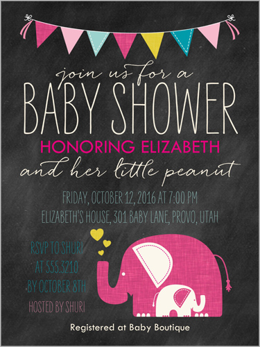 Elefun Delight Girl 4x5 Greeting Card Baby Shower Invitations