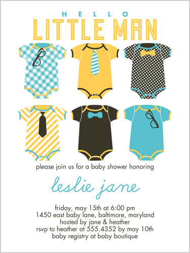Hello Little Man 4x5 Custom Baby Shower Invitations Shutterfly